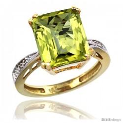 14k Yellow Gold Diamond Lemon Quartz Ring 5.83 ct Emerald Shape 12x10 Stone 1/2 in wide -Style Cy427149