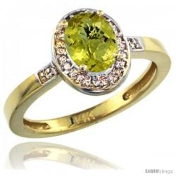 14k Yellow Gold Diamond Lemon Quartz Ring 1 ct 7x5 Stone 1/2 in wide