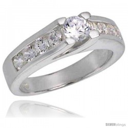 Sterling Silver .35 Carat Size Brilliant Cut Cubic Zirconia Bridal Ring