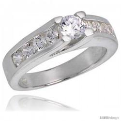 Sterling Silver .35 Carat Size Brilliant Cut Cubic Zirconia Bridal Ring
