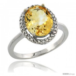 Sterling Silver Diamond Natural Citrine Ring 2.4 ct Oval Stone 10x8 mm, 1/2 in wide -Style Cwg09114