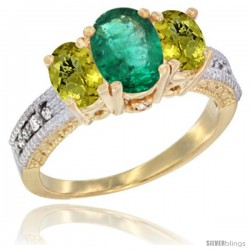 14k Yellow Gold Ladies Oval Natural Emerald 3-Stone Ring with Lemon Quartz Sides Diamond Accent