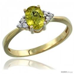 14k Yellow Gold Ladies Natural Lemon Quartz Ring oval 7x5 Stone Diamond Accent