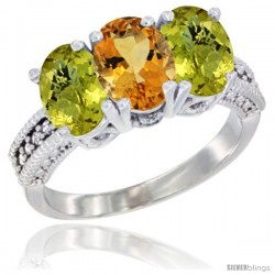 14K White Gold Natural Citrine Ring with Lemon Quartz 3-Stone 7x5 mm Oval Diamond Accent