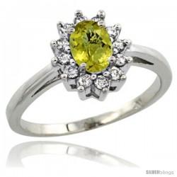 14k White Gold lemon Quartz Diamond Halo Ring Oval Shape 1.2 Carat 6X4 mm, 1/2 in wide