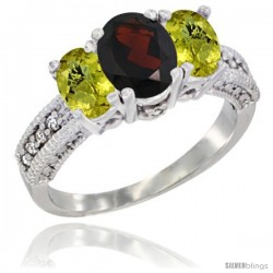 14k White Gold Ladies Oval Natural Garnet 3-Stone Ring with Lemon Quartz Sides Diamond Accent