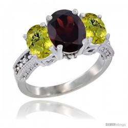 14K White Gold Ladies 3-Stone Oval Natural Garnet Ring with Lemon Quartz Sides Diamond Accent