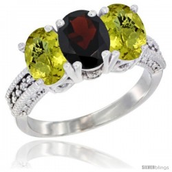 14K White Gold Natural Garnet Ring with Lemon Quartz 3-Stone 7x5 mm Oval Diamond Accent
