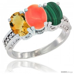 10K White Gold Natural Citrine, Coral & Malachite Ring 3-Stone Oval 7x5 mm Diamond Accent
