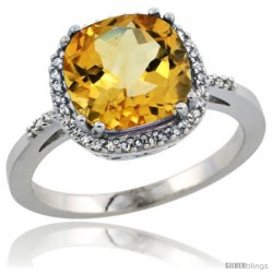 Sterling Silver Diamond Natural Citrine Ring 3.05 ct Cushion Cut 9x9 mm, 1/2 in wide