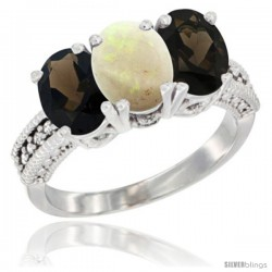 14K White Gold Natural Opal & Smoky Topaz Ring 3-Stone 7x5 mm Oval Diamond Accent