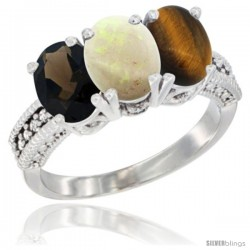 14K White Gold Natural Smoky Topaz, Opal & Tiger Eye Ring 3-Stone 7x5 mm Oval Diamond Accent