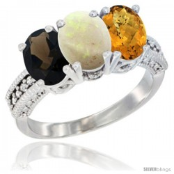 14K White Gold Natural Smoky Topaz, Opal & Whisky Quartz Ring 3-Stone 7x5 mm Oval Diamond Accent