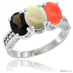 14K White Gold Natural Smoky Topaz, Opal & Coral Ring 3-Stone 7x5 mm Oval Diamond Accent