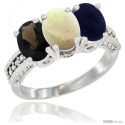 14K White Gold Natural Smoky Topaz, Opal & Lapis Ring 3-Stone 7x5 mm Oval Diamond Accent