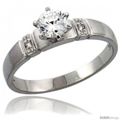 Sterling Silver Solitaire CZ Engagement Ring, 5/32 in. (4 mm) wide