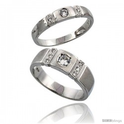 Sterling Silver 2-Piece His (7 mm) & Hers (4 mm) CZ Wedding Ring Band Set