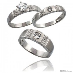 Sterling Silver 3-Piece Trio His (7 mm) & Hers (4 mm) CZ Wedding Ring Band Set