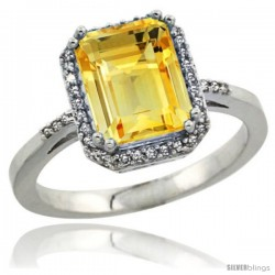 Sterling Silver Diamond Natural Citrine Ring 2.53 ct Emerald Shape 9x7 mm, 1/2 in wide