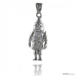 Sterling Silver High Polished Movable Santa Claus Pendant