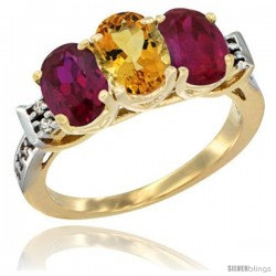 10K Yellow Gold Natural Citrine & Ruby Sides Ring 3-Stone Oval 7x5 mm Diamond Accent