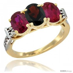 10K Yellow Gold Natural Garnet & Ruby Sides Ring 3-Stone Oval 7x5 mm Diamond Accent