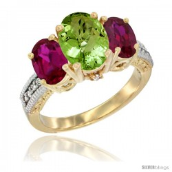 10K Yellow Gold Ladies 3-Stone Oval Natural Peridot Ring with Ruby Sides Diamond Accent