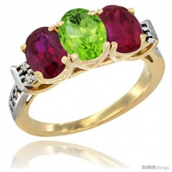 10K Yellow Gold Natural Peridot & Ruby Sides Ring 3-Stone Oval 7x5 mm Diamond Accent