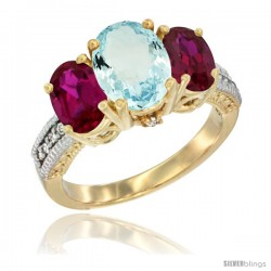 10K Yellow Gold Ladies 3-Stone Oval Natural Aquamarine Ring with Ruby Sides Diamond Accent
