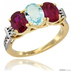 10K Yellow Gold Natural Aquamarine & Ruby Sides Ring 3-Stone Oval 7x5 mm Diamond Accent