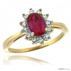 10k Yellow Gold Diamond Halo Ruby Ring 0.85 ct Oval Stone 7x5 mm, 1/2 in wide