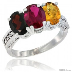 14K White Gold Natural Garnet, Ruby & Whisky Quartz Ring 3-Stone 7x5 mm Oval Diamond Accent