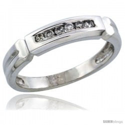 14k White Gold Ladies' Diamond Ring Band w/ 0.10 Carat Brilliant Cut Diamonds, 5/32 in. (4mm) wide