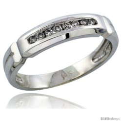 14k White Gold Men's Diamond Ring Band w/ 0.14 Carat Brilliant Cut Diamonds, 3/16 in. (5mm) wide