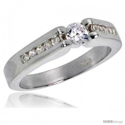 Sterling Silver .23 Carat Size Brilliant Cut Cubic Zirconia Bridal Ring