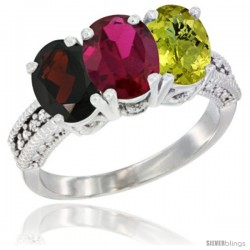 14K White Gold Natural Garnet, Ruby & Lemon Quartz Ring 3-Stone 7x5 mm Oval Diamond Accent