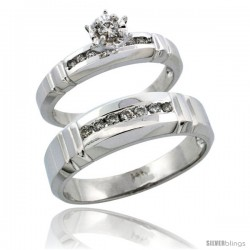14k White Gold 2-Piece Diamond Ring Band Set w/ Rhodium Accent ( Engagement Ring & Man's Wedding Band ), w/ 0.30 Carat