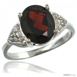 14k White Gold Diamond Garnet Ring 2.40 ct Oval 10x8 Stone 3/8 in wide
