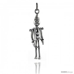 Sterling Silver High Polished Movable Tin Man Pendant