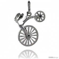 Sterling Silver High Polished Movable Bicycle Pendant