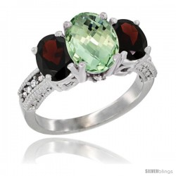 10K White Gold Ladies Natural Green Amethyst Oval 3 Stone Ring with Garnet Sides Diamond Accent