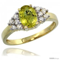 14k Yellow Gold Ladies Natural Lemon Quartz Ring oval 8x6 Stone Diamond Accent
