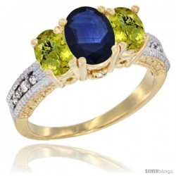 14k Yellow Gold Ladies Oval Natural Blue Sapphire 3-Stone Ring with Lemon Quartz Sides Diamond Accent