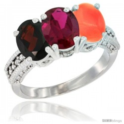 14K White Gold Natural Garnet, Ruby & Coral Ring 3-Stone 7x5 mm Oval Diamond Accent