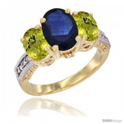 14K Yellow Gold Ladies 3-Stone Oval Natural Blue Sapphire Ring with Lemon Quartz Sides Diamond Accent