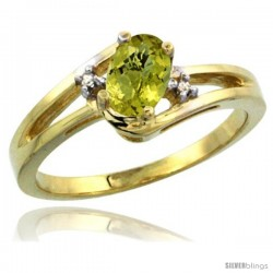 14k Yellow Gold Ladies Natural Lemon Quartz Ring oval 6x4 Stone Diamond Accent -Style Cy427165