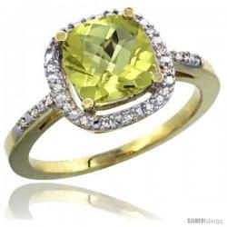 14k Yellow Gold Ladies Natural Lemon Quartz Ring Cushion-cut 3.8 ct. 8x8 Stone Diamond Accent