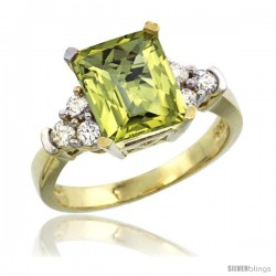14k Yellow Gold Ladies Natural Lemon Quartz Ring Emerald-shape 9x7 Stone Diamond Accent