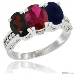 14K White Gold Natural Garnet, Ruby & Lapis Ring 3-Stone 7x5 mm Oval Diamond Accent