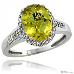 14k White Gold Diamond Lemon Quartz Ring 2.4 ct Oval Stone 10x8 mm, 1/2 in wide